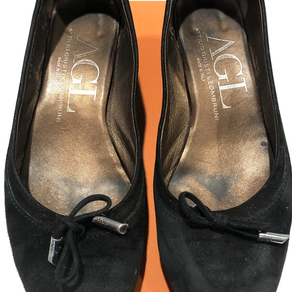 AGL Womens Black Slip On Cap Toe Leather Ballet Flats
